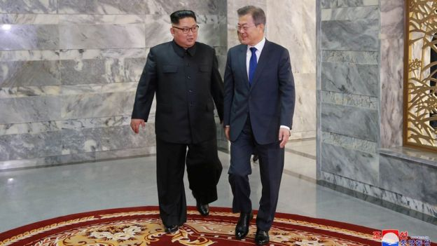 Both Korean leaders meet at the truce village of Panmunjom, North Korea