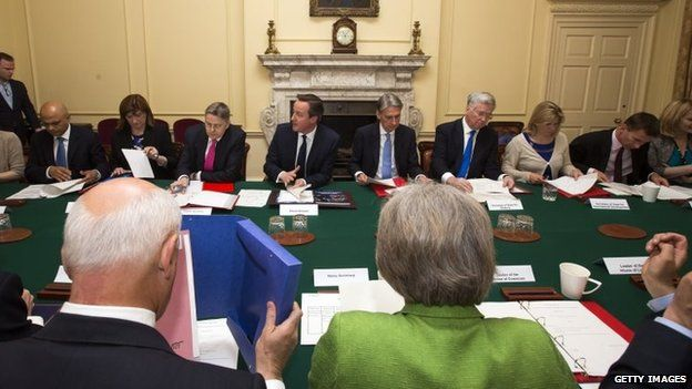 The first cabinet meeting of the new Tory government
