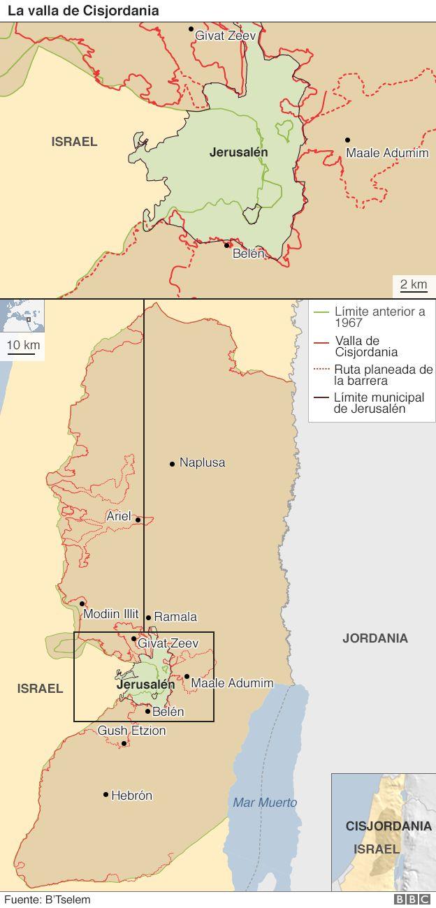 Mapa de la valla en Cisjordania