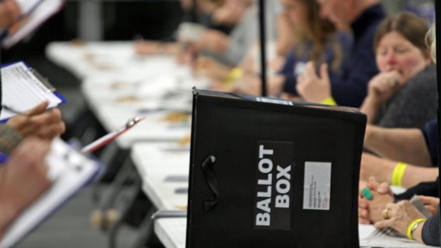 Ballot box at election count