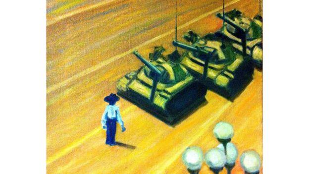 Pintura de um mariachi em frente a tanques de guerra