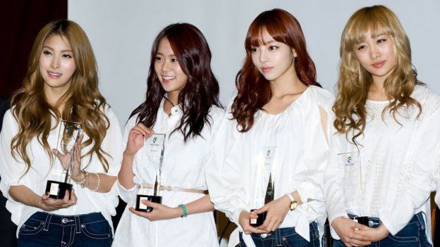 Gyuri, Seungyeon,Hara and Nicole of South Korean girl group Kara