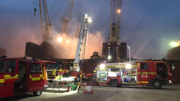 Southampton cargo ship fire