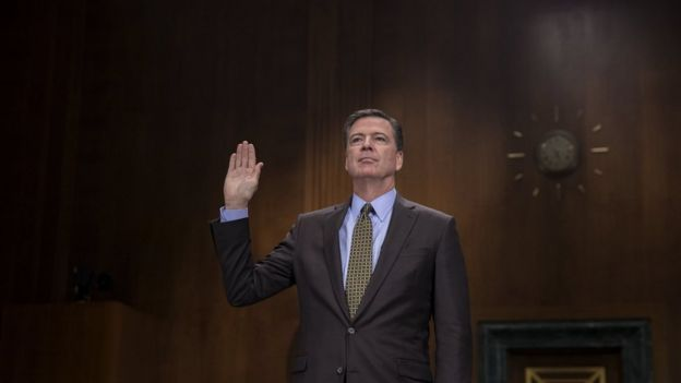 FBI Director James Comey is sworn in prior to testifying before the Senate Judiciary Committee hearing on