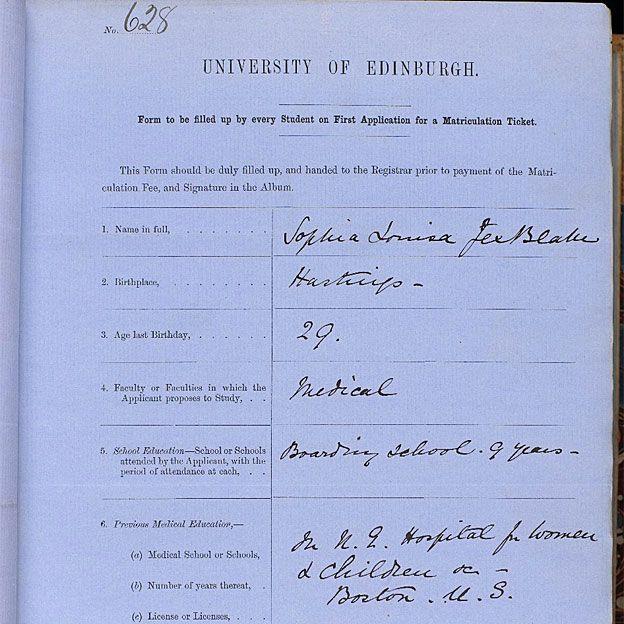 La solicitud de matrícula de Jex-Blake, presentada a la Universidad de Edimburgo y guardada en sus archivos.