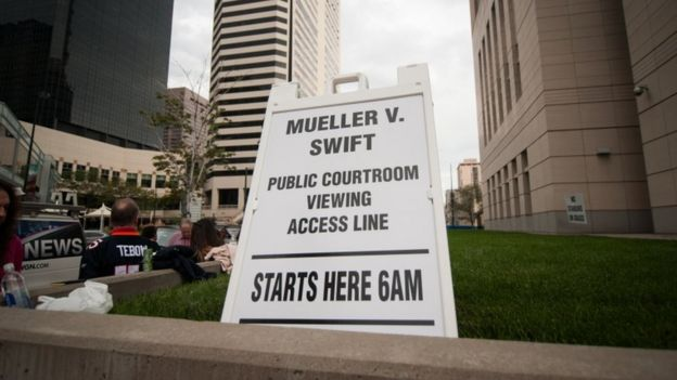 A sign is placed outside the civil case for Taylor Swift vs David Mueller at the Alfred A. Arraj Courthouse on August 10, 2017 in Denver, Colorado.
