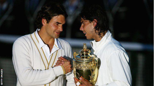 Roger Federer and Rafael Nadal in 2008