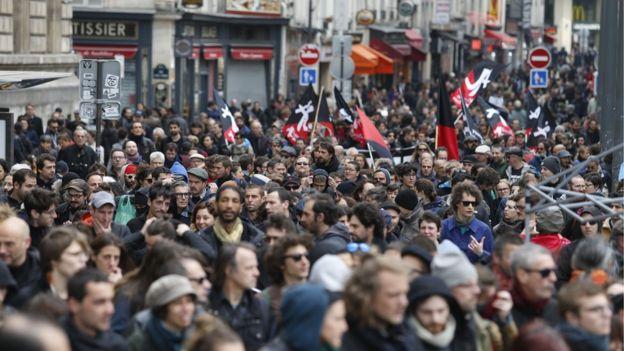 Manifestaciones el 1 de Mayo en París