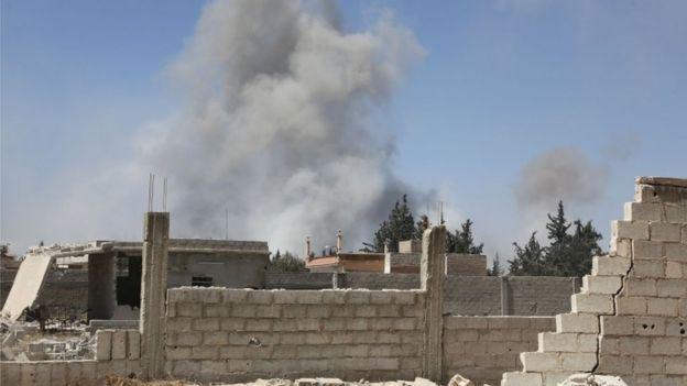 Fumaça na cidade de Douma, último lugar controlado pela oposição em Ghouta oriental na Síria