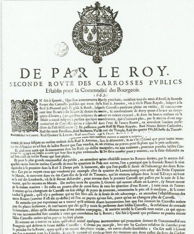 Decreto Luis XIV autorizando el transporte colectivo de París