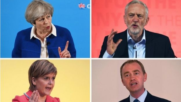 May, Corbyn. Sturgeon, Farron