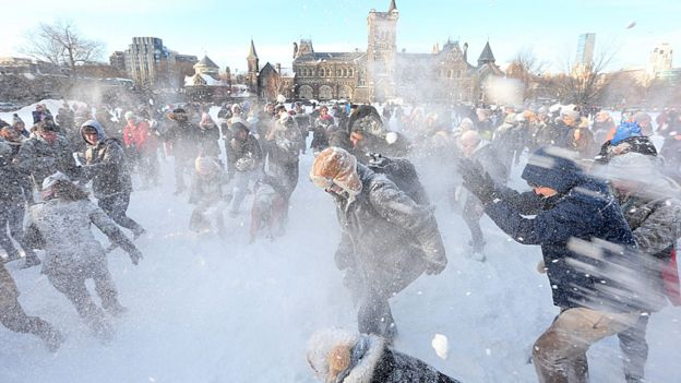Toronto snowball fight