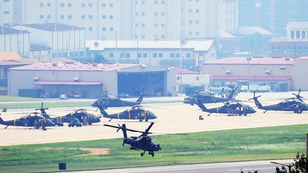 An Apache helicopter takes off from US base Camp Humphreys in Pyeongtaek, south of Seoul, South Korea, 5 August 2019