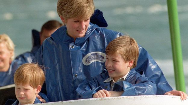 Prince Harry, Princess Diana, Prince William in 1991