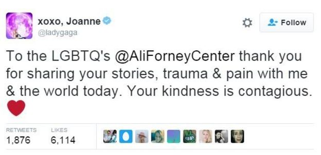 Tweet from @ladygaga: To the LGBTQs at AliForneyCenter thank you for sharing your stories, traume and pain with me and the world today. Your kindness is contagious