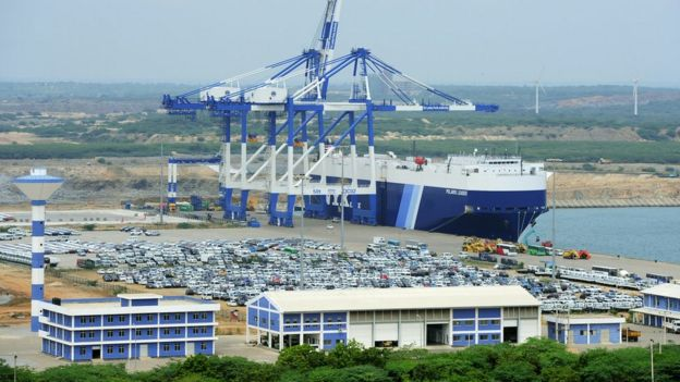 A general view of the port facility at Hambantota in February 2015.