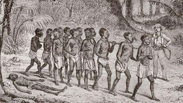 Ilustración de un grupo de esclavos en 1868.