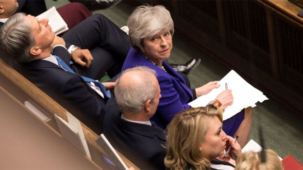 File image of Theresa May looking up from the government front bench during Prime Minister's Questions on 30 January, 2019