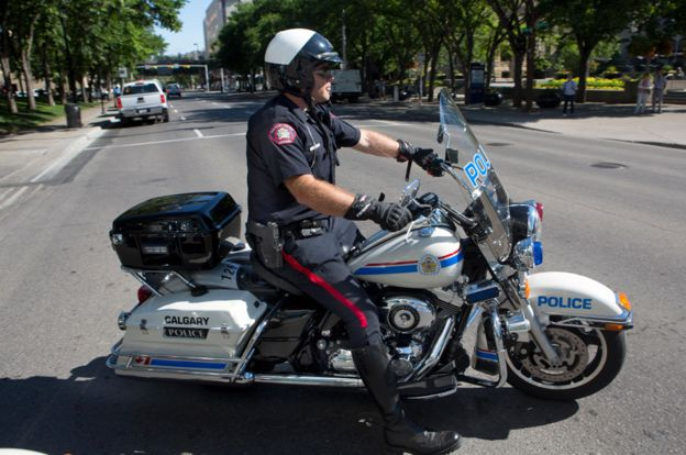 Canadian policeman on a bike