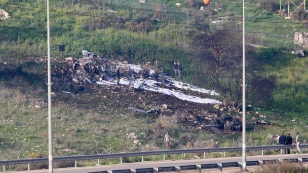 Sitio del accidente de un avión F-16 israelí, 10 de febrero de 2018