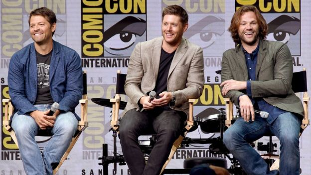(L-R) Actors Misha Collins, Jensen Ackles and Jared Padalecki