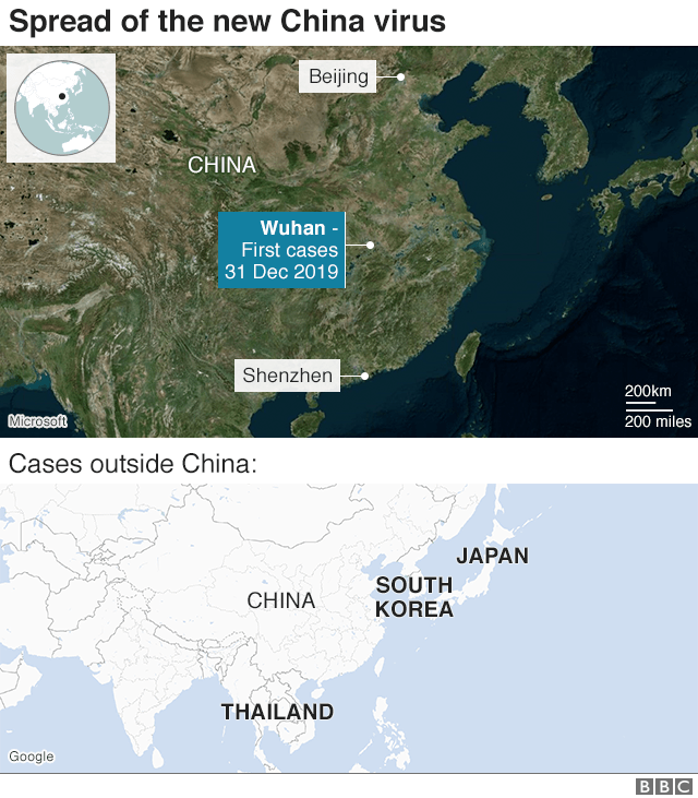 Map showing the cities where the virus has spread in China, and the countries abroad where cases have been reported