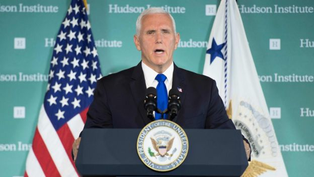 "US Vice President Mike Pence addresses the Hudson Institute on the administration""s policy towards China in Washington, DC, on October 4, 2018."