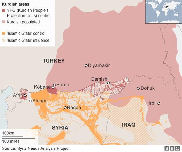 Map: Kurdish populated areas in Turkey, Syria and Iraq