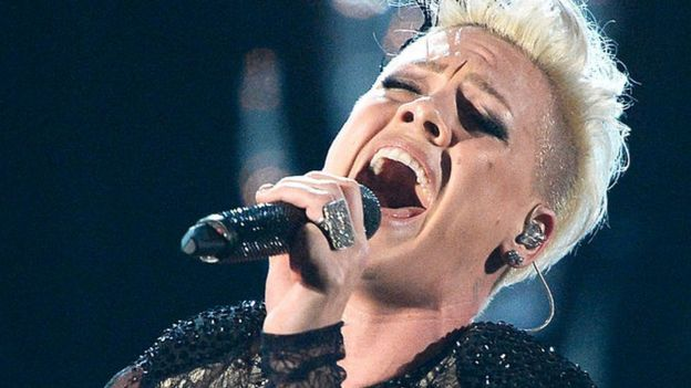 Pink performs onstage during the 56th GRAMMY Awards