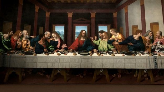 A copy of Leonardo da Vinci's The Last Supper, on display at the Louvre
