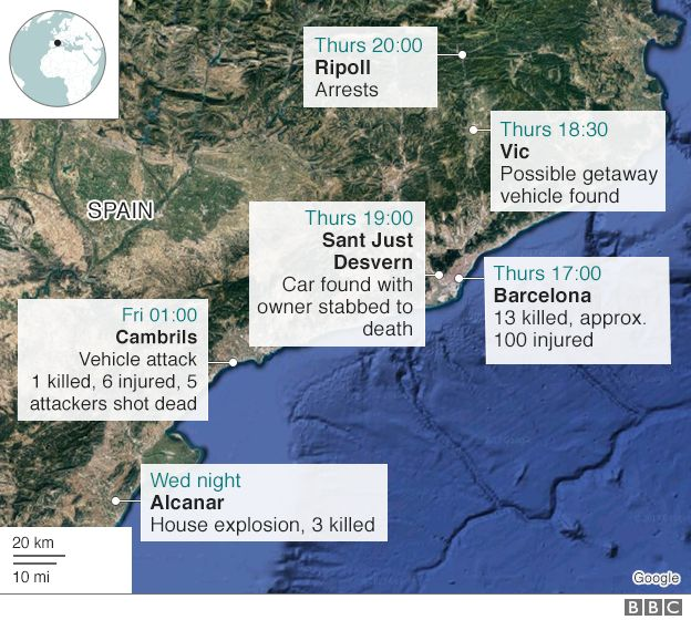 Timeline map showing Barcelona and subsequent attacks