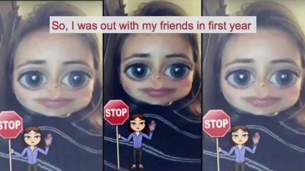 Imagen de una mujer dando el testimonio de su violación por Snapchat