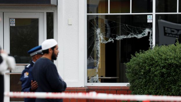 Smashed windows at Linwood Mosque