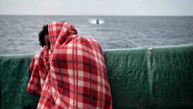 Gemiye sığınan bir göçmen