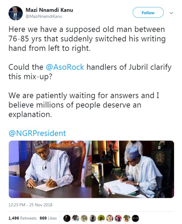 Nnamdi Kanu claim say President Buhari na fake Buhari