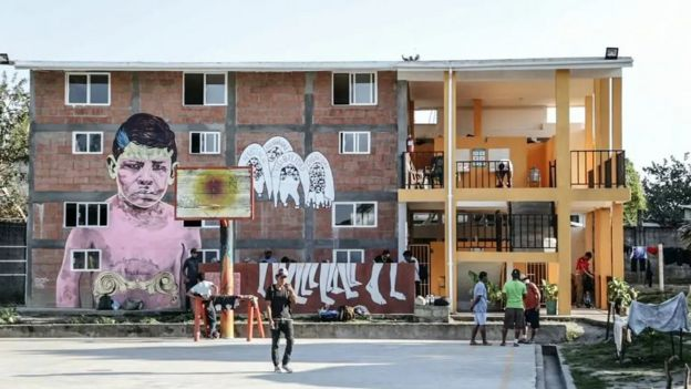 A mural on the side of La 72 migrant shelter in Tenosique, Tabasco, Mexico