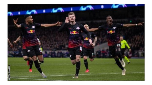 Werner, centre, scored from the penalty spot against Tottenham on Wednesday