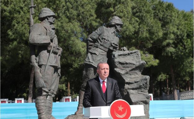 Turkish President Tayyip Erdogan speaks during a ceremony marking the 104th anniversary of Battle of Canakkale, also known as the Gallipoli Campaign, in Canakkale, Turkey March 18, 2019