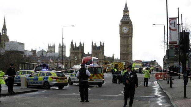 Police on Westminster Bridge