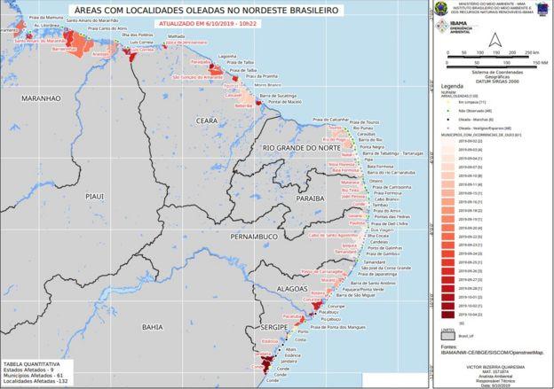 Mapa com áreas atingidas por óleo