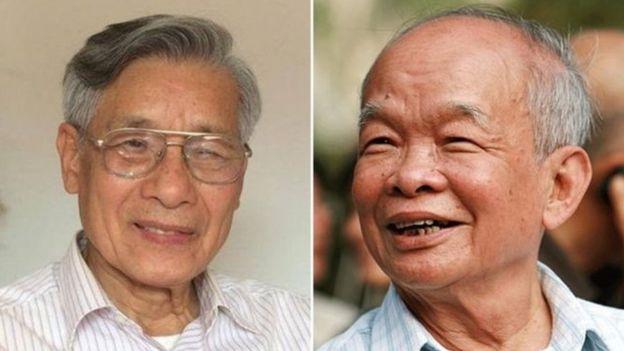 PGS.TS. Mạc Văn Trang (trái) và nhà văn Nguyên Ngọc tuyên bố bỏ ĐCSVN sau PSG. TS Chu Hảo bị đề nghị kỷ luật.