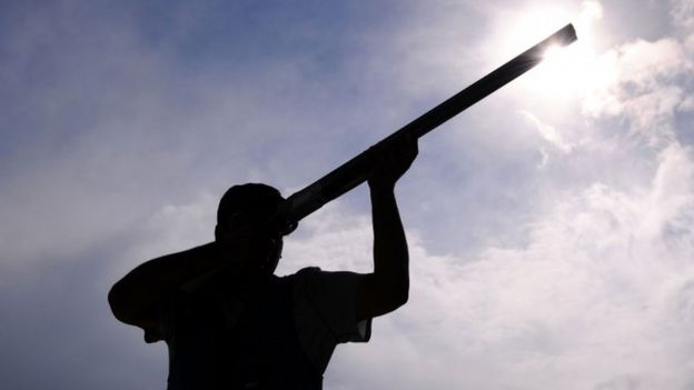 Fehaid Aldeehani of Kuwait competes in the Men's Trap Shooting Final on Day 10 of the London 2012 Olympic Games