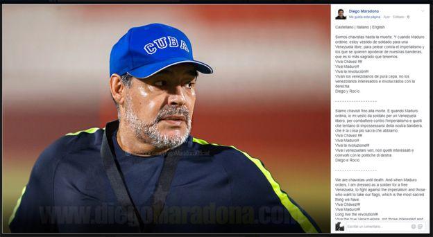 Captura de pantalla de la cuenta de Maradona en Facebook