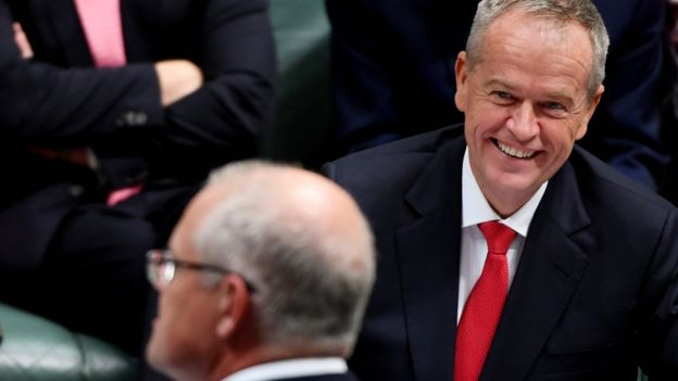 Bill Shorten grins across the table at Scott Morrison in parliament