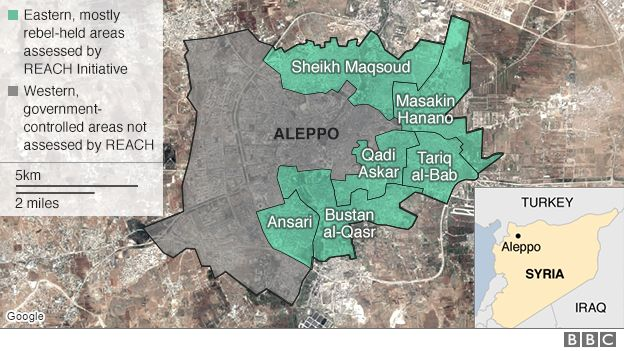 map of Aleppo showing rebel-held areas as assessed by REACH Initiative in document published on 30 September 2016