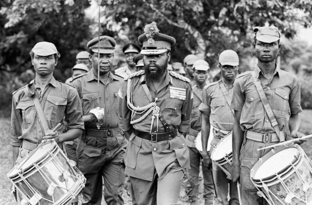 Colonel Odumegwu Ojukwu, the Military Governor of Biafra in Nigeria inspecting some of his troops, 11th June 1968.