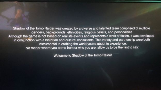 A message that greets you when you begin to play Shadow of the Tomb Raider