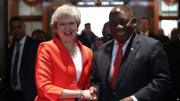Theresa May and Cyril Ramaphosa in Cape Town on Tuesday