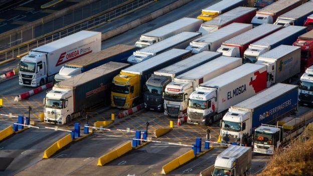 Lorries queuing in port