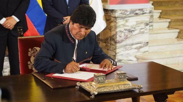 Evo Morales en su época como presidente